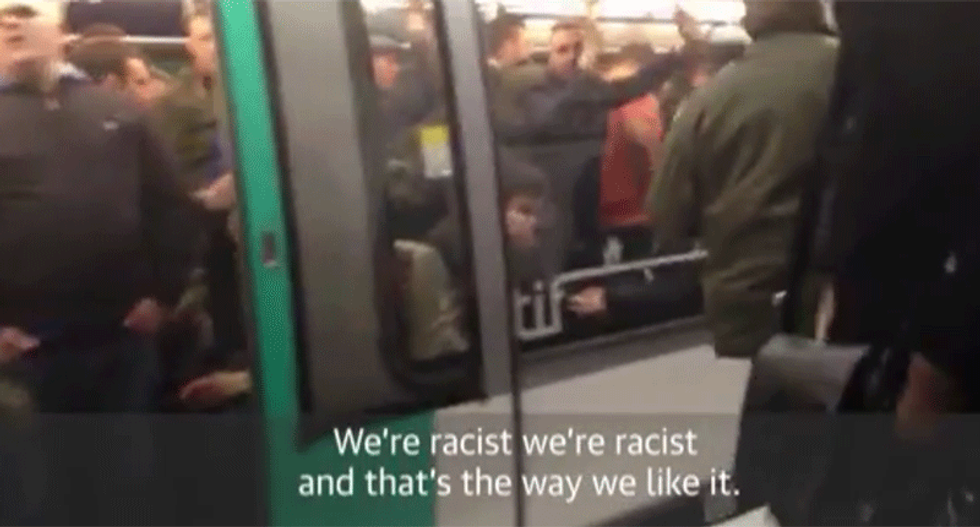 Watch British soccer fans harass black man on subway: 'We're racist, and that's the way we like it'