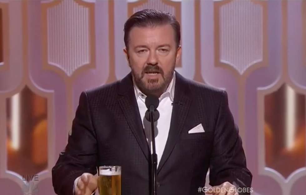 Ricky Gervais rips Sean Penn, Caitlyn Jenner and NBC in scorching 2016 Golden Globes monologue