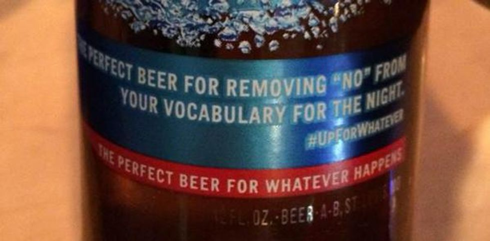 Bud Light sorry for 'removing no from your vocabulary for the night' label