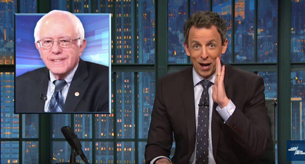 Seth Meyers explains why young voters love Bernie Sanders: He's entered 'the Betty White zone'