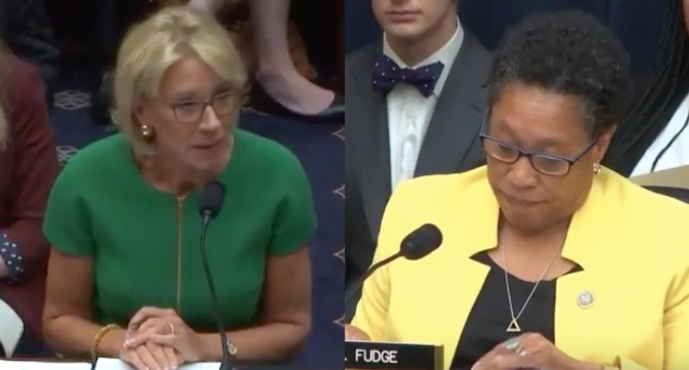 Black congresswoman visibly annoyed as Betsy DeVos struggles to answer basic civil rights questions