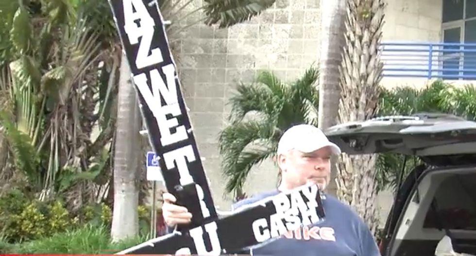 Florida atheist trolls Christian mayor with 'tacky' Satanic cross display outside City Hall