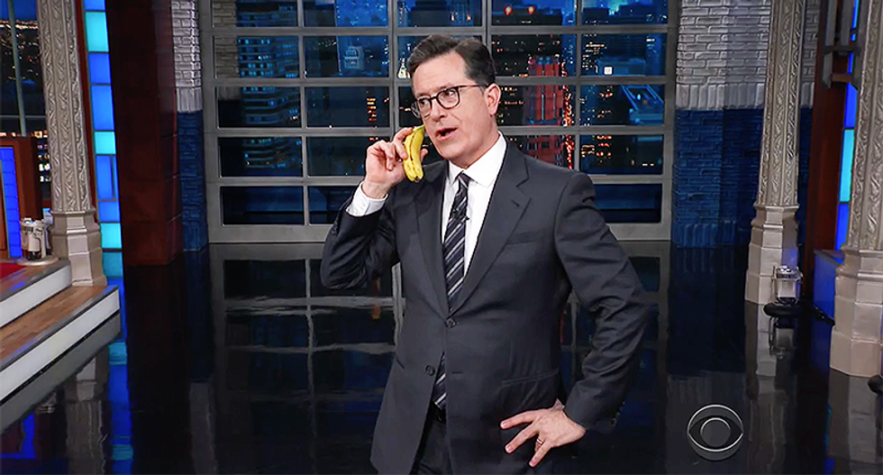 Stephen Colbert uses Trump's own strategy and conducts a phone call from the president live on air