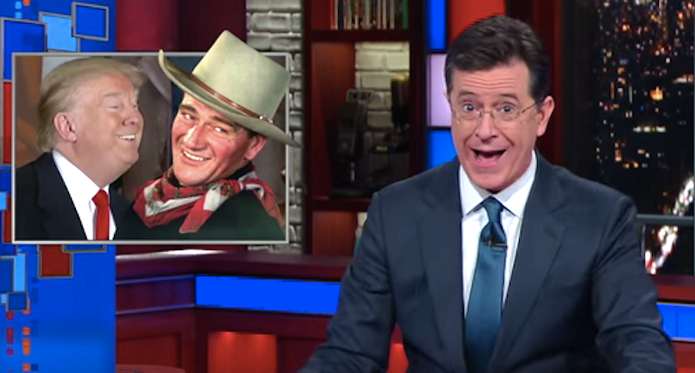 Stephen Colbert mocks Trump's phony Bible-thumping and weird endorsement by the ghost of John Wayne