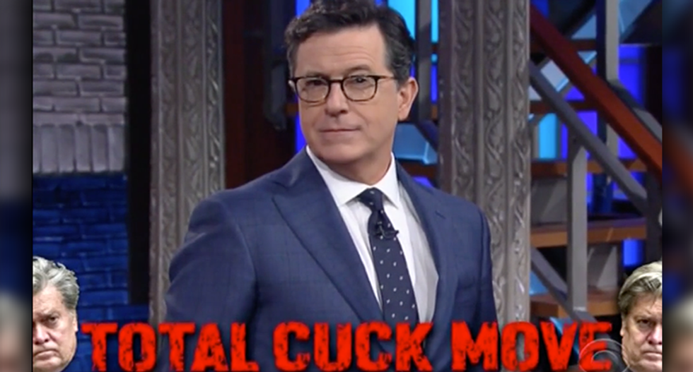 'That's a total cuck move': Stephen Colbert destroys Steve Bannon for getting kicked off the NSC