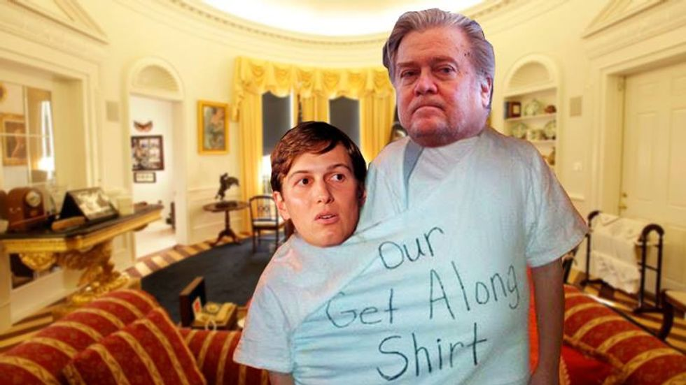 Trump ordered Steve Bannon and Jared Kushner to sit down and stop squabbling at Mar-a-Lago meeting