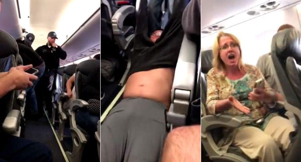 WATCH: Passengers horrified as security officers drag a screaming man off overbooked United flight