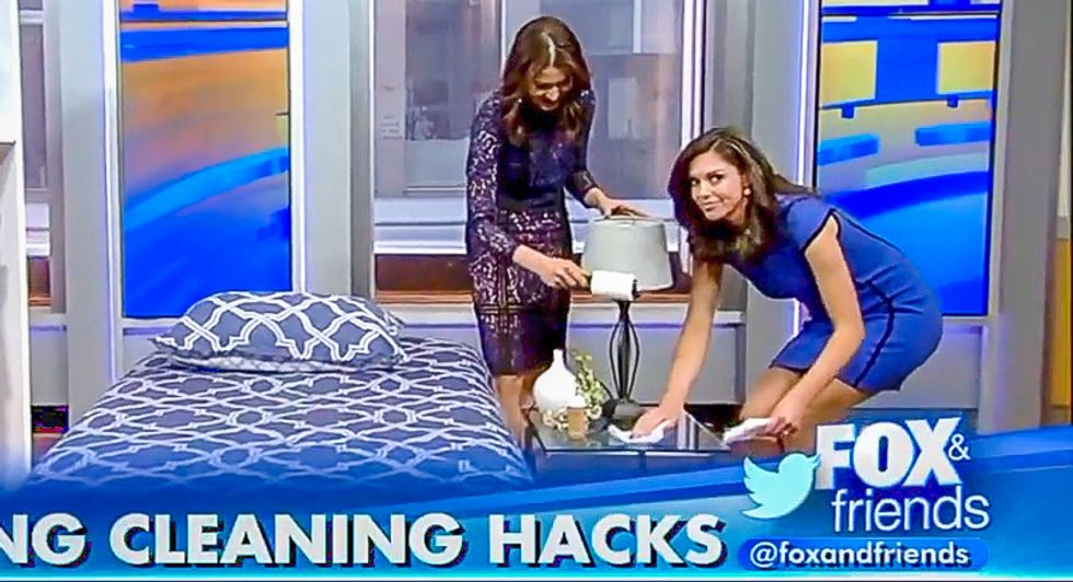 'I'm excited to watch you': Male Fox News hosts make women presenters demonstrate spring cleaning tips