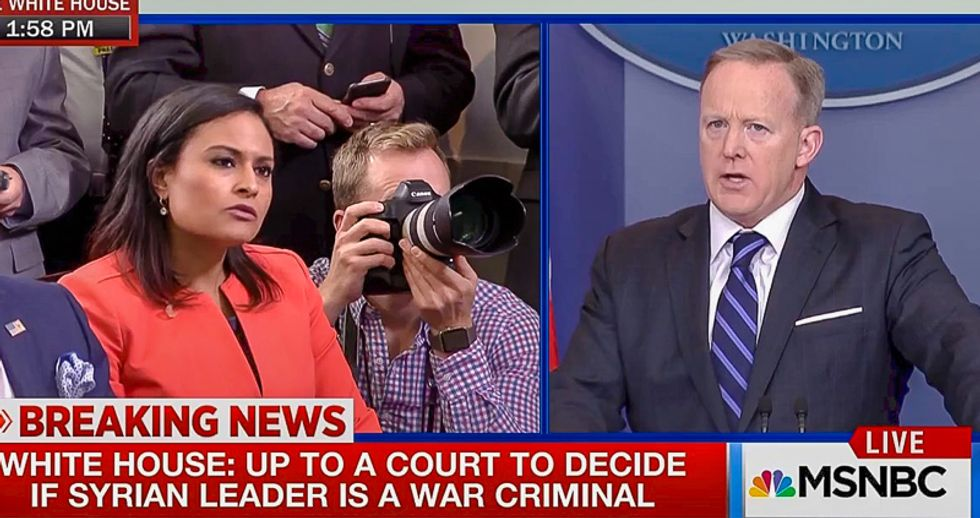 'The goal is to destabilize Syria': Sean Spicer baffles reporters with Trump's Middle East policy