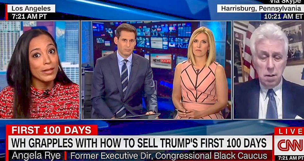 'He's winning on golfing': Angela Rye pounds Jeffrey Lord with common sense about Trump's first 100 days