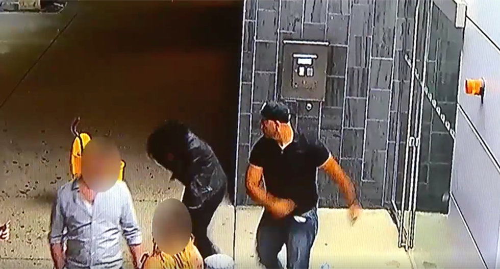 WATCH: White man sucker punches black security guard after she attempts to help him up off the ground