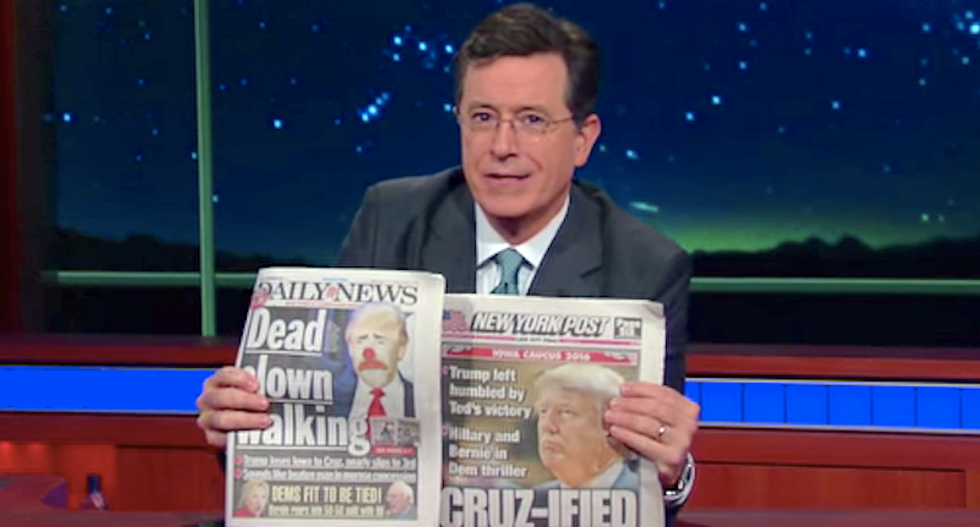 Stephen Colbert gleefully mocks Trump's Iowa loss: 'Oh, you came in second? Go f*ck yourself'