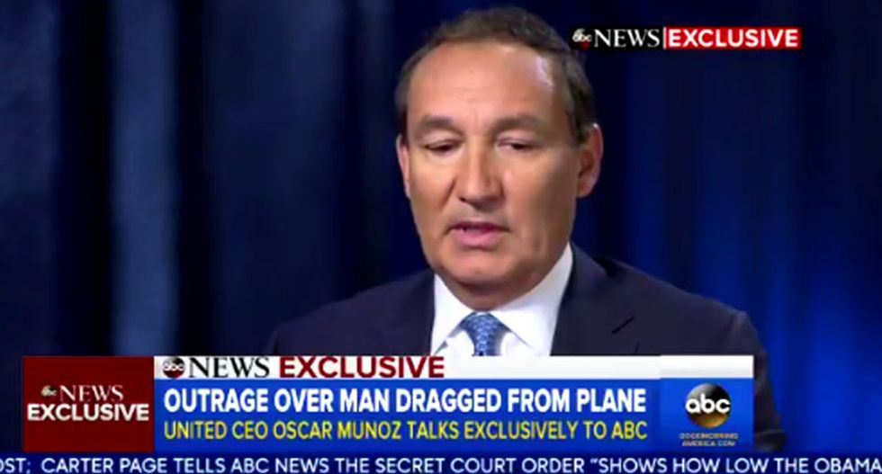 'We can't do that': United CEO says airline will stop using cops to remove overbooked passengers