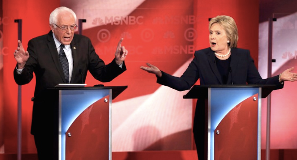 Clinton and Sanders both claim 'progressive' mantle in contentious debate