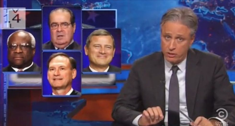 Jon Stewart shreds Scalia's marriage-equality dissent: He had no problem telling voters to 'f*ck off' in Citizens United