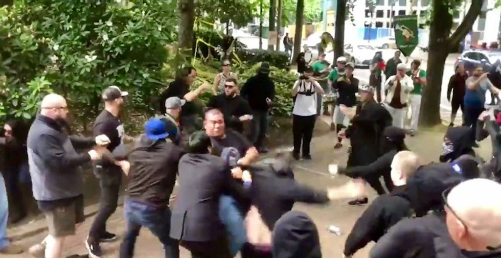 Watch: Violence erupts at rally held by Washington's Republican US Senate candidate