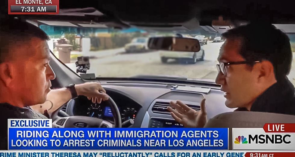 MSNBC bizarrely airs live immigrant 'roundup' with ICE to capture unsuspecting man when he steps out of home