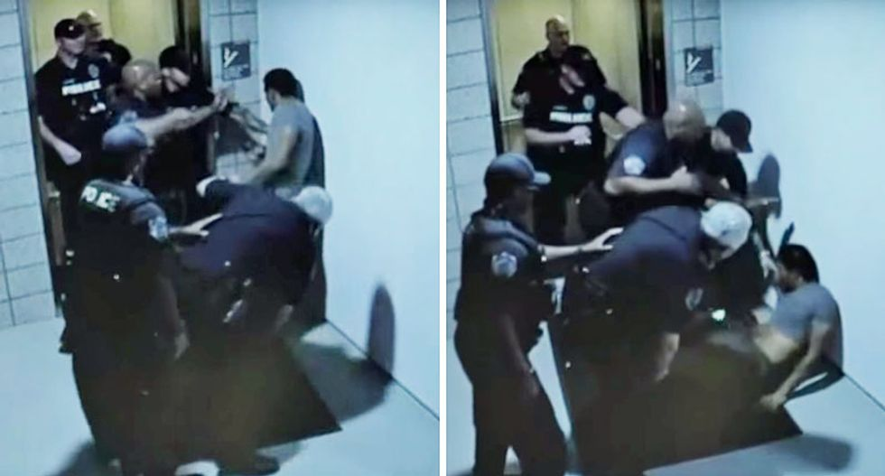 Graphic video shows gang of Arizona cops punching out man on cellphone