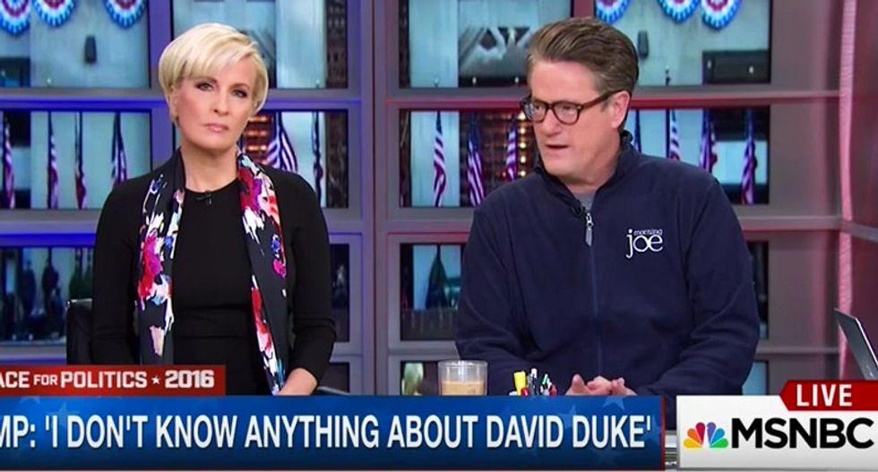 MSNBC's Joe Scarborough finally disavows Trump after 'breathtaking' KKK comments