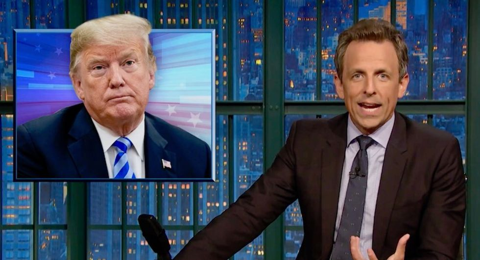 WATCH: Seth Meyers drops epic burn on Trump's love for campaigning