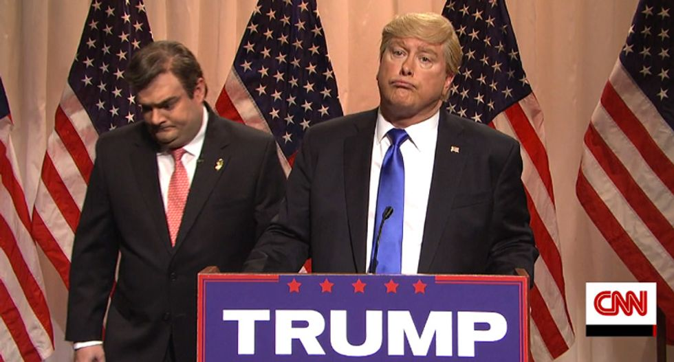 WATCH: SNL's Trump degrades Chris Christie as 'this fat piece of crap behind me' in brutal speech send-up