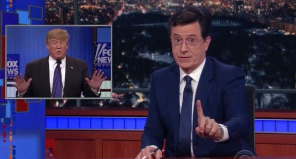 Stephen Colbert goes Trump groin truther: Voters deserve to know 'the size of your executive branch'