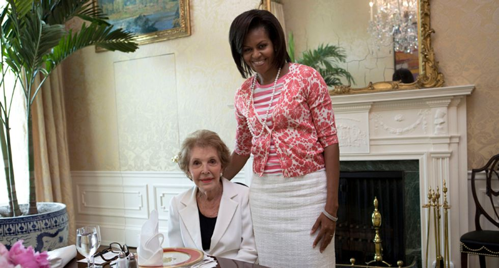 Hateful Twitter nutters use Nancy Reagan's death to bash First Lady Michelle Obama