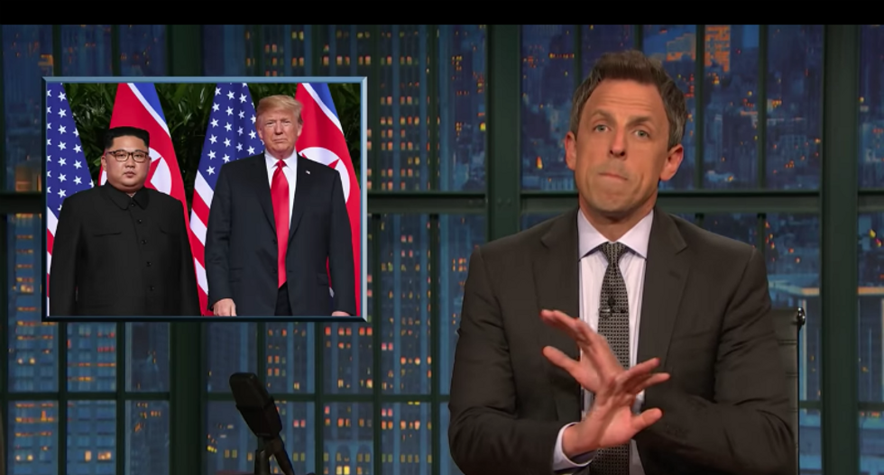 Seth Meyers mocks body language of Trump and Kim Jong-un: 'Like they've been set up on a blind date by their weirdest friend'