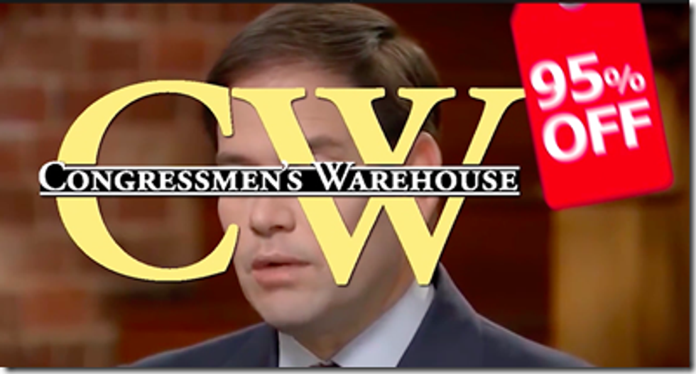 Parody Men's Wearhouse commercial ad shows it's just as easy to buy a politician as it is to shop for cheap suits