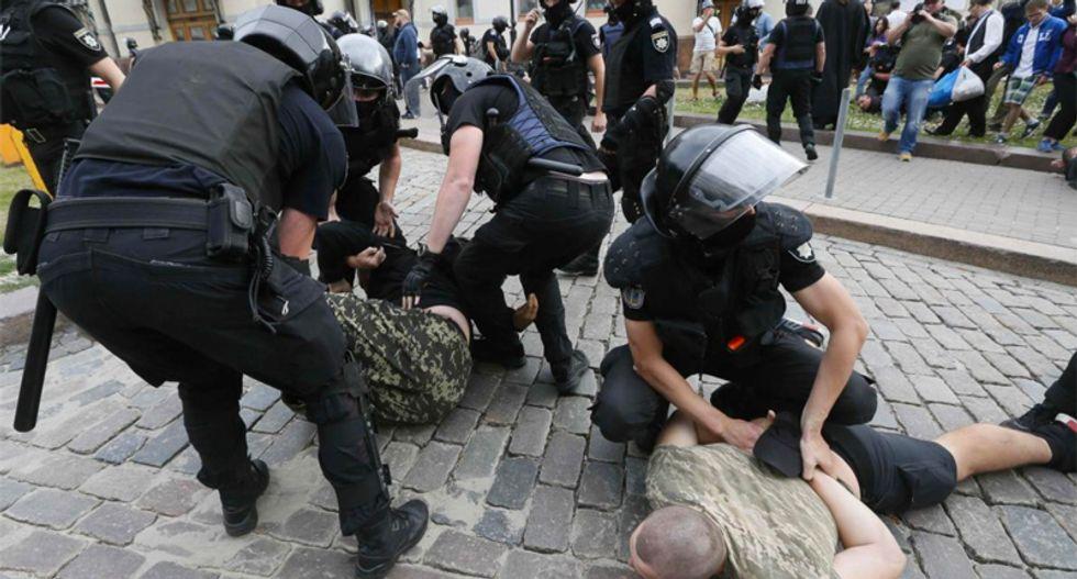 Kiev police arrest far-right protesters attacking gay pride march