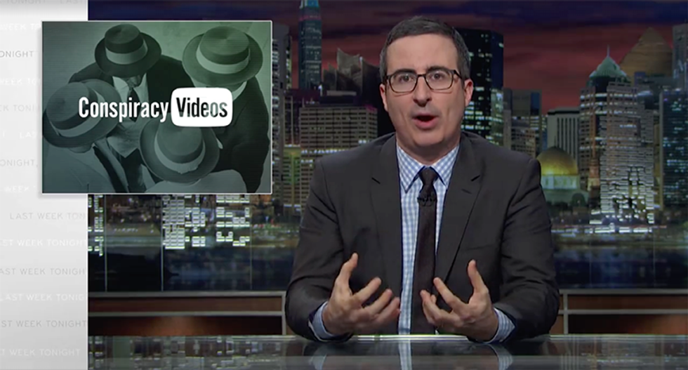John Oliver opens a can of whoopass on dumb YouTube conspiracy videos with one of his own