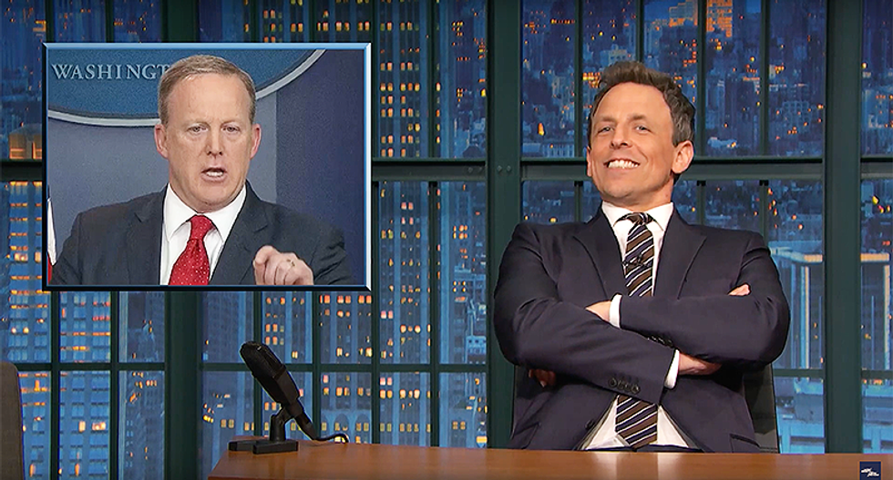 'Reporters are openly f*cking with Spicer': Seth Meyers hilariously taunts a White House 'detached from reality'