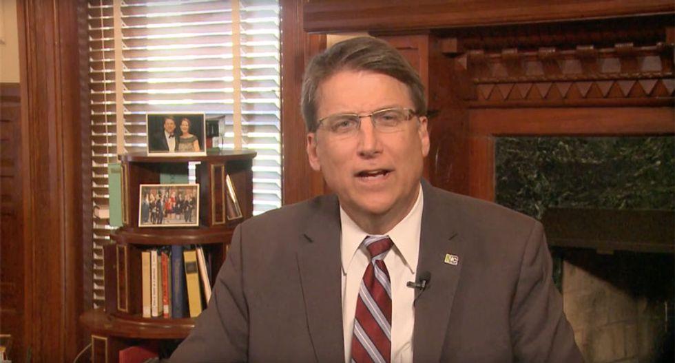 NC Gov. Pat McCrory 'jokes' about anti-trans bathroom law at Trump rally