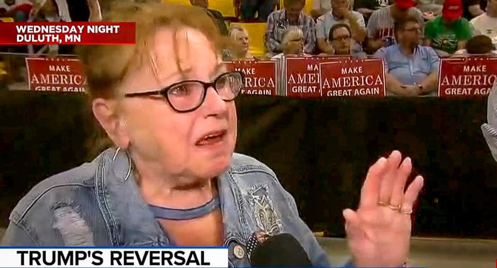 Woman at Trump rally sobs because critics hate his child camps: 'He tries so hard and people are so down on him'