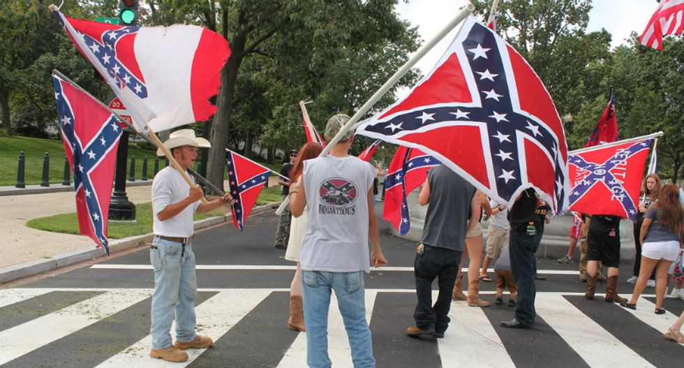 Pro-confederate 'patriot' mistakenly shoots himself while trying to counter-protest at anti-fascism rally