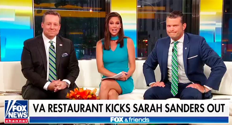 Fox & Friends whines that kicking Sanders out of restaurant is proof liberals are destroying the 'fabric' of our communities