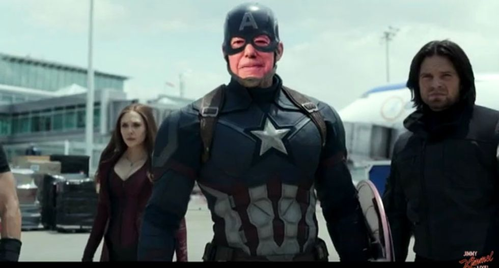 WATCH: Bernie and Trump do battle in Jimmy Kimmel's hilarious 'Captain America: Civil War' parody