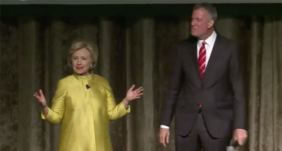 Hillary Clinton and Bill de Blasio set off cringing with painful joke about 'colored people time'
