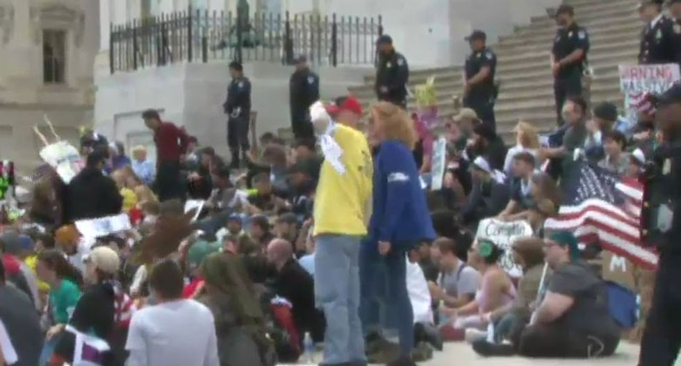 WATCH LIVE: 'Democracy Spring' protesters hold mass sit-in at US Capitol