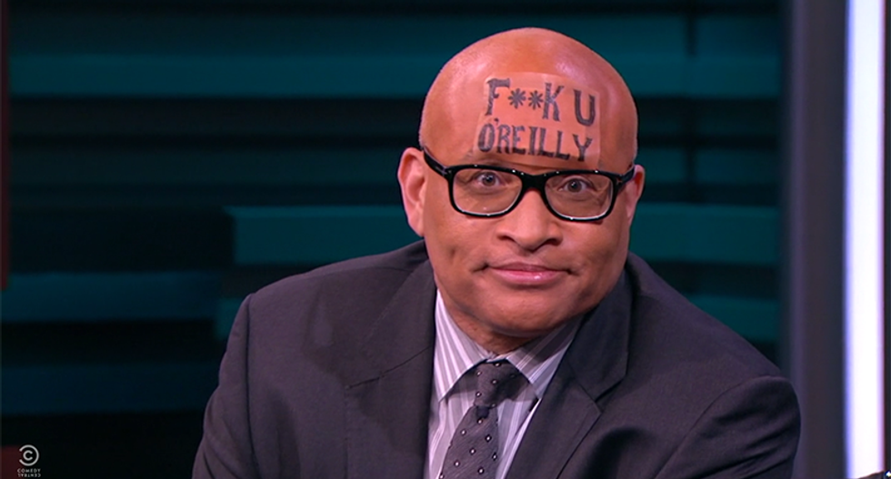 Larry Wilmore launches #ForeheadSolidarity: 'Here's my forehead tattoo' F**K U O'Reilly