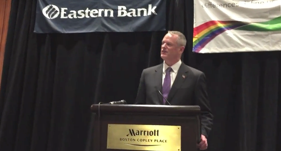 Mass Gov. booed off stage at LGBT event for refusing to say he'd support trans protections bill