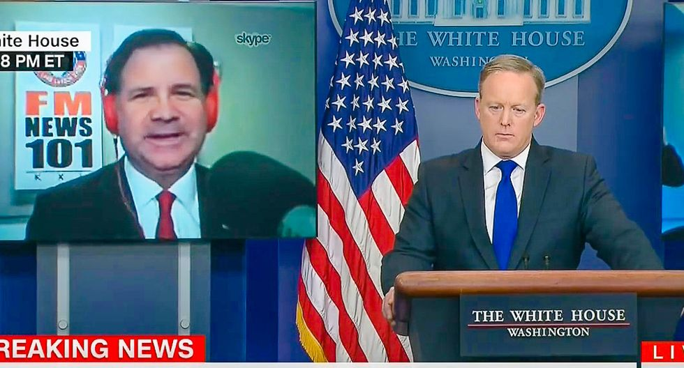 Sean Spicer takes Skype question from radio host who wants 'aggressive logging' to prevent fires