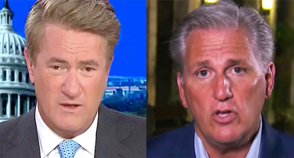 MSNBC's Joe Scarborough tosses Kevin McCarthy's words back in his face after he rails against Trump's impeachment