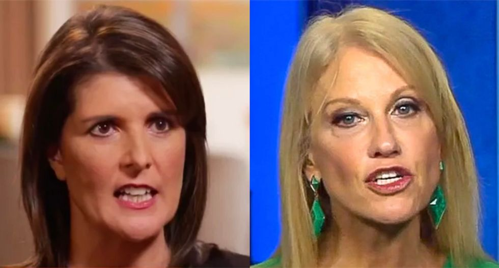 Frustrated Nikki Haley fan trashes her for latest suck-up to Trump : No better than Kellyanne Conway