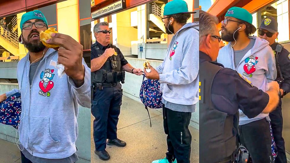 Cops caught on video handcuffing black man for 'illegally' eating a sandwich at train station