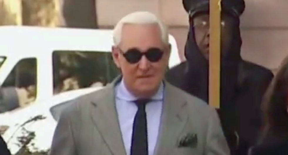 'Traitor!' Trump ally Roger Stone heckled as he enters courtroom for sentencing
