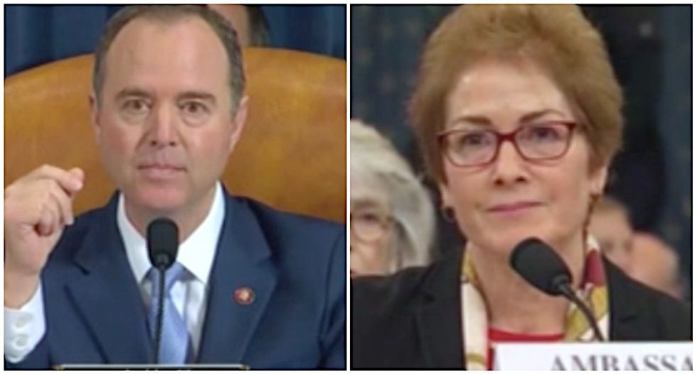 'Witness intimidation in real time': Schiff and Yovanovitch respond to Trump moments after he launches Twitter attacks