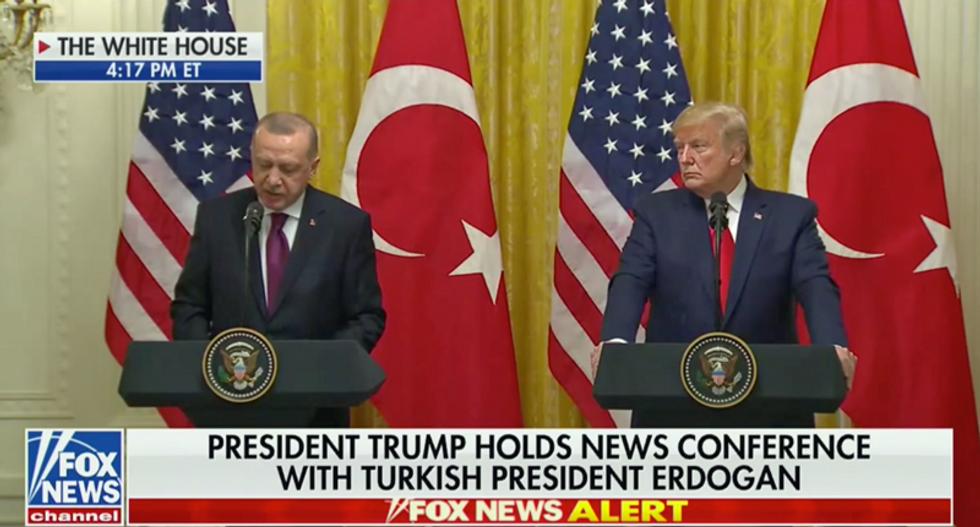 WATCH: Trump looks on as Turkey's Erdoğan denies the Armenian Genocide ever occurred
