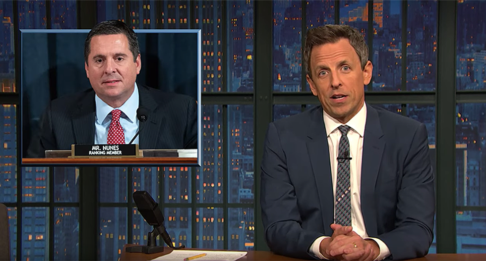 Seth Meyers mocks Devin Nunes saying Dems wanted to find nude photos of Trump: 'Literally no one wants that'