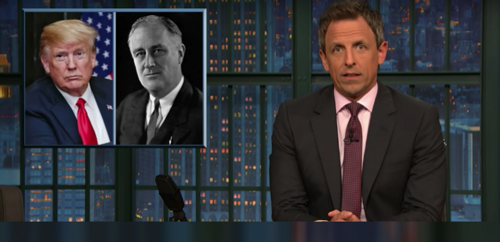 Seth Meyers mocks Trump for comparing himself to a 'fictional president' who he thinks served '16-years'